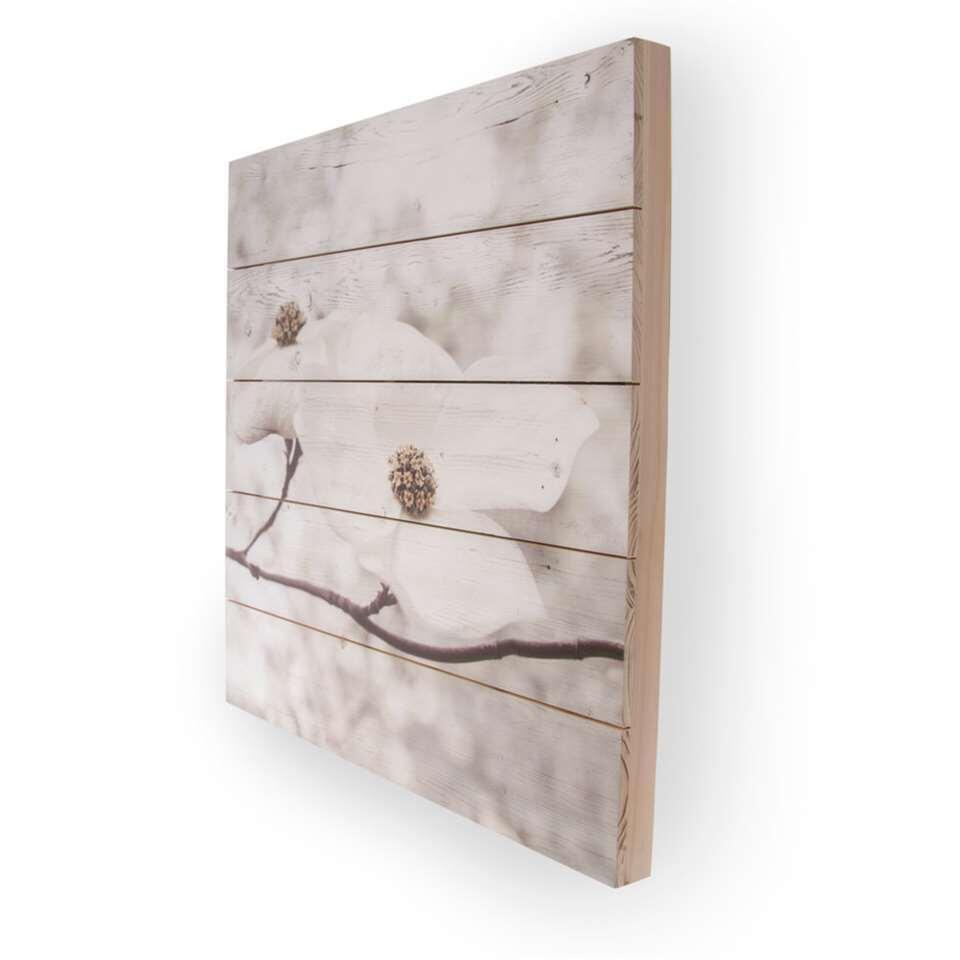 Art For The Home print op hout Bloesem - wit/grijs - 60x60 cm - Leen Bakker