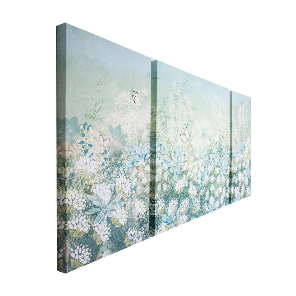 Art For The Home schilderijset Veldbloemen - blauw/groen - 120x60 cm - Leen Bakker