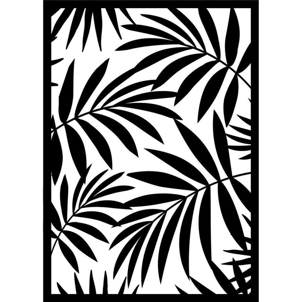 Art For The Home metal art Palmblad - zwart - 40x50 cm - Leen Bakker
