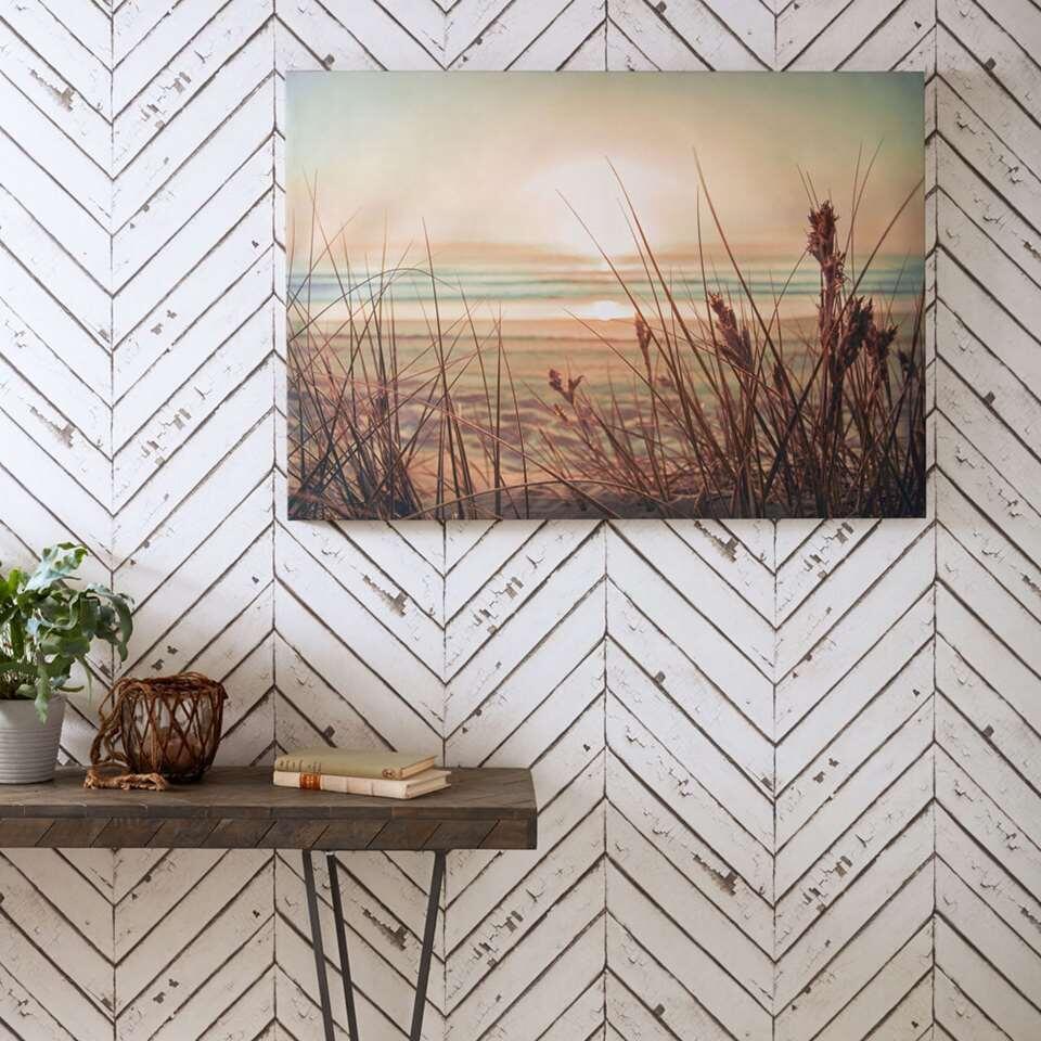 Art For The Home schilderij Zonsondergang - blauw/beige - 100x70 cm - Leen Bakker