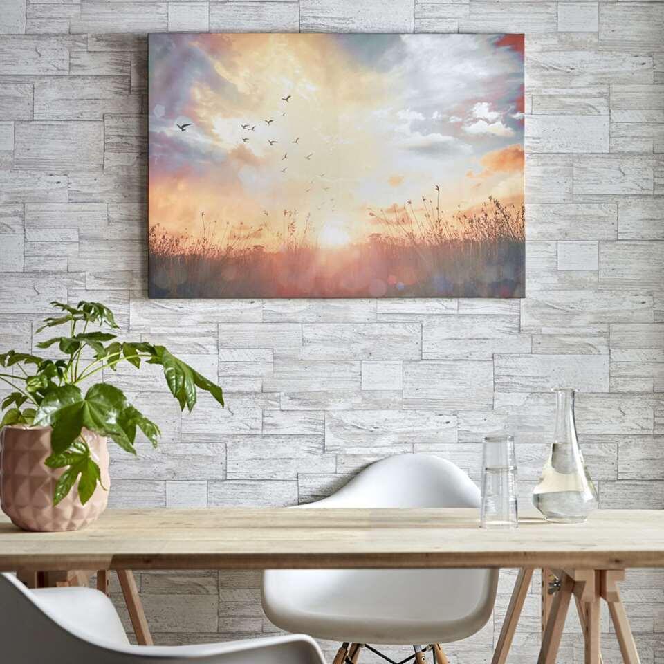 Art For The Home schilderij Zonsondergang - blauw/geel - 100x70 cm - Leen Bakker