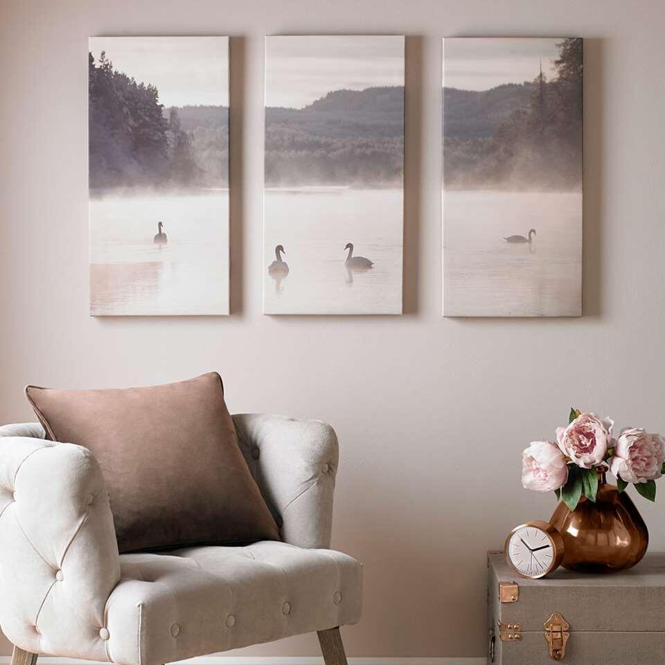 Art For The Home schilderijset Zwanenmeer - beige - 3x 30x60 cm - Leen Bakker