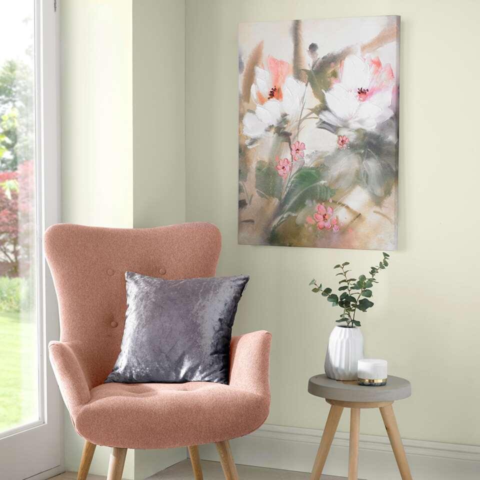 Art For The Home handgeschilderd canvas Bloem - groen/roze - 60x80 cm - Leen Bakker