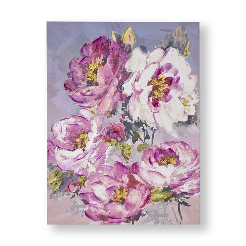 Art For The Home handgeschilderd canvas Bloem - roze - 60x80 cm - Leen Bakker