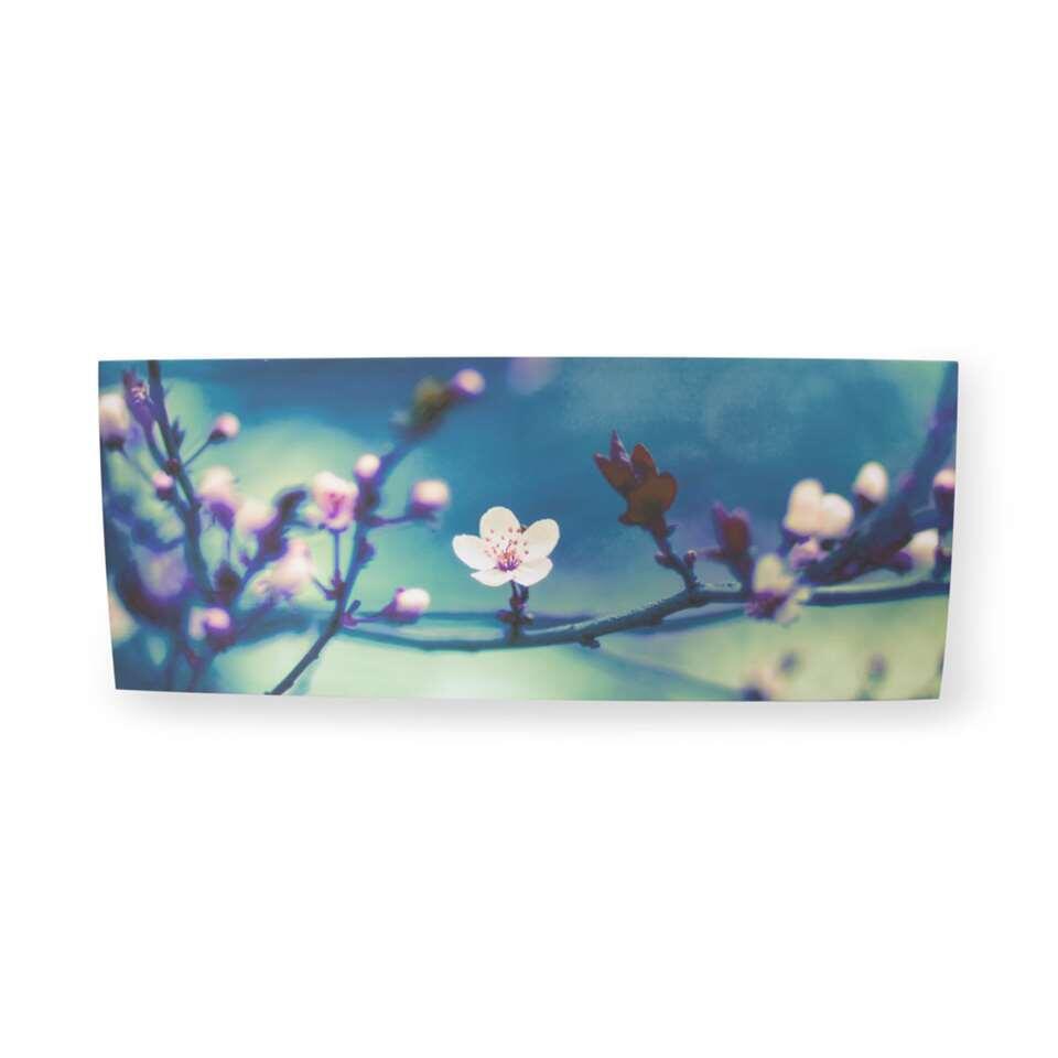 Art For The Home schilderij Bloesem - donkerblauw/roze - 100x40 cm - Leen Bakker