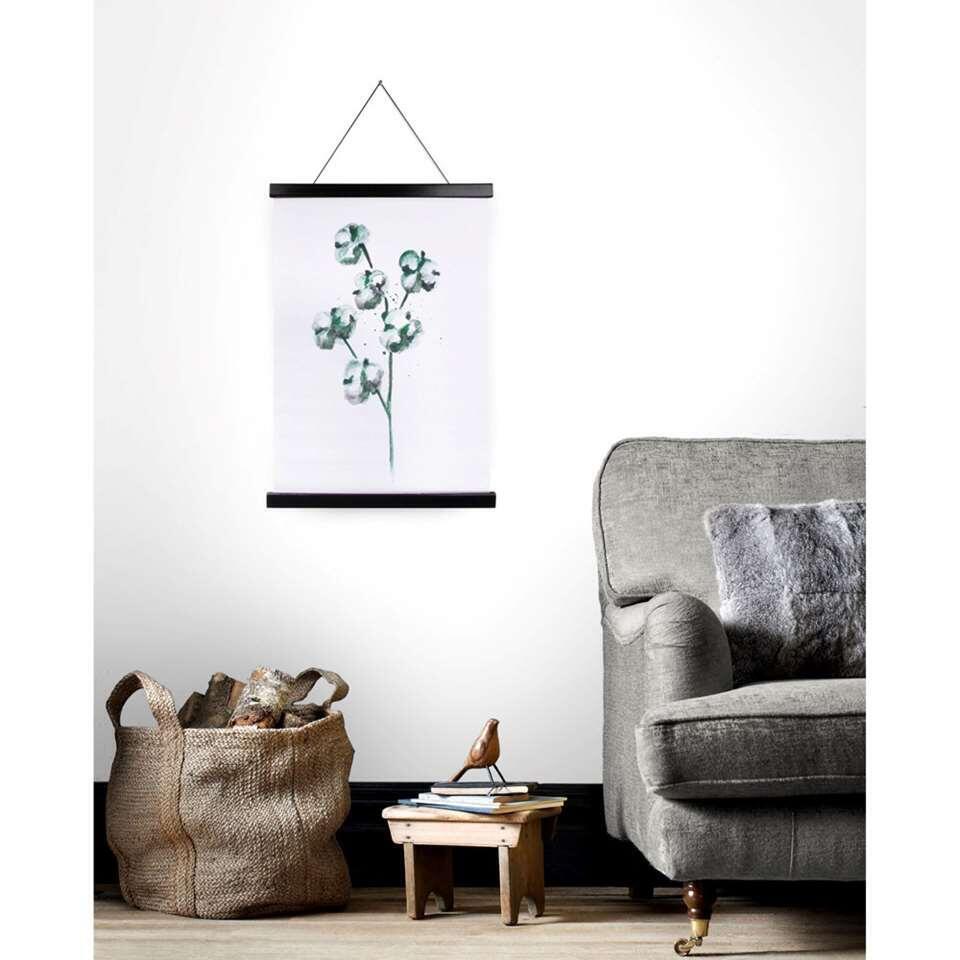 Art For The Home katoenen poster Katoenplant - wit/groen - 40x60 cm - Leen Bakker