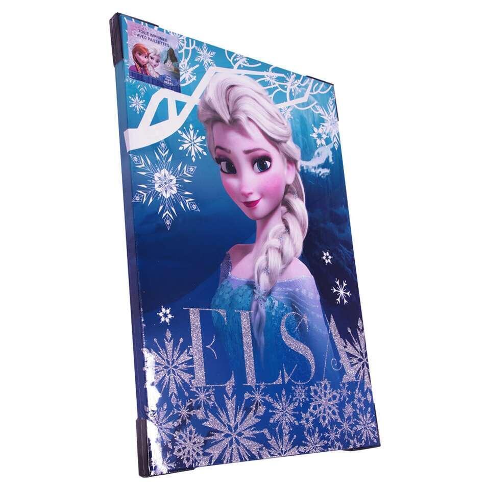 Disney canvas schilderij Glitter Frozen Elsa - blauw - 50x70 cm - Leen Bakker