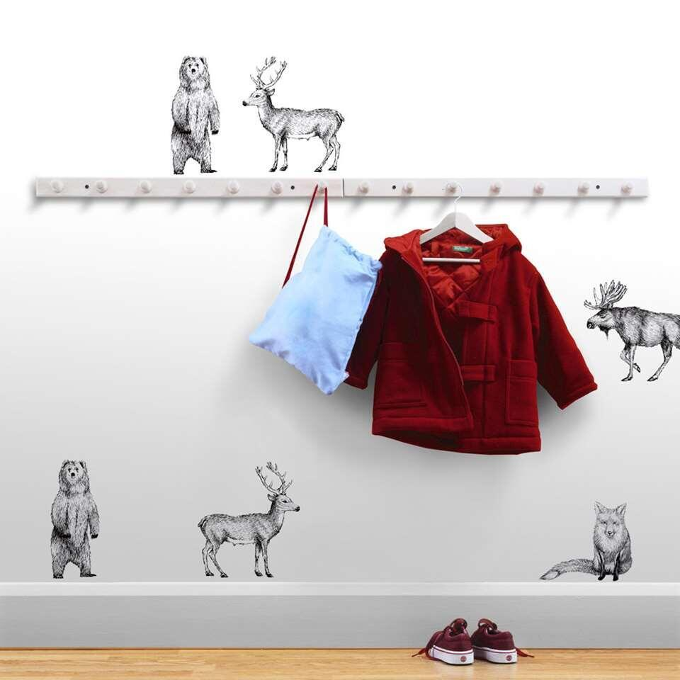 Art For The Home muurstickers Bosdieren - zwart - 70x25 cm