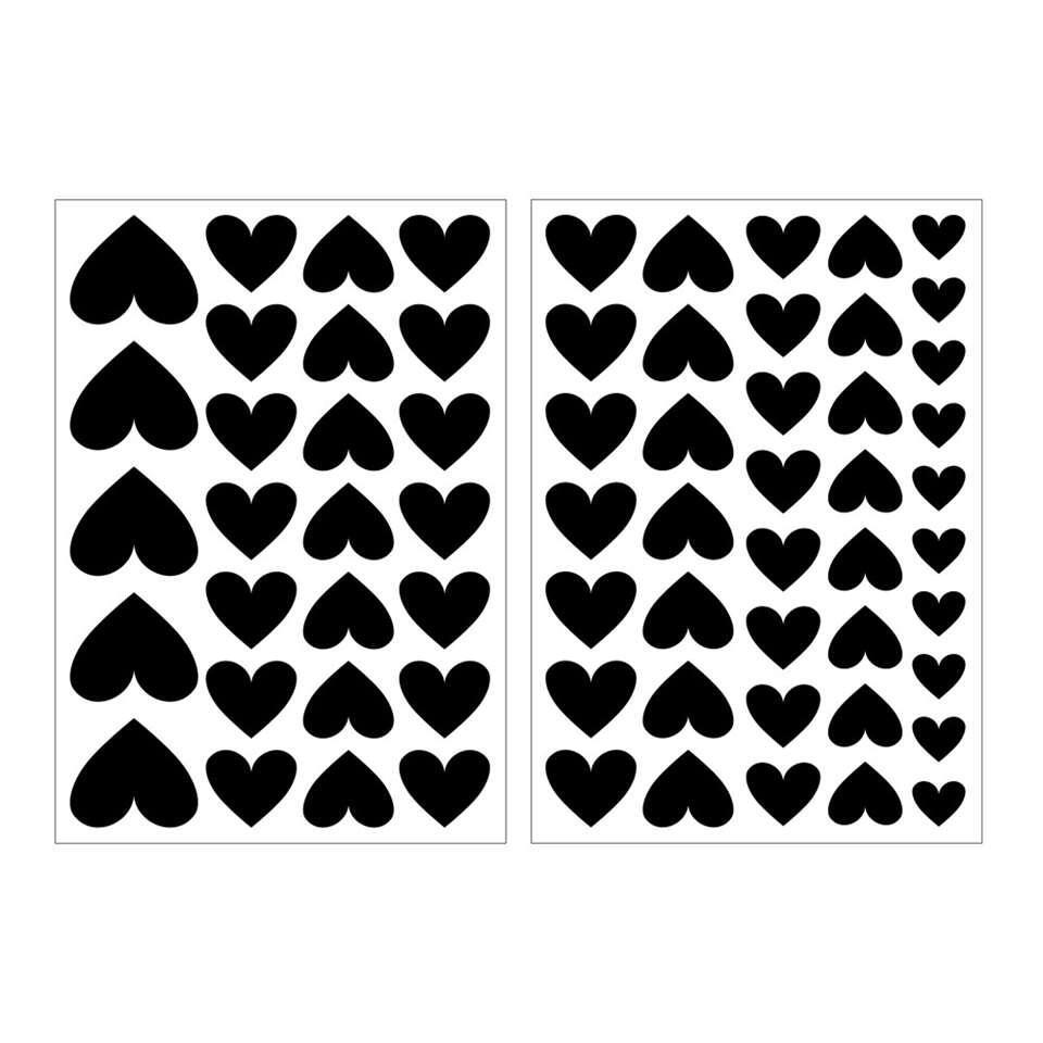 Art For The Home muurstickers Hartjes - zwart - 17,5x25 cm - Leen Bakker