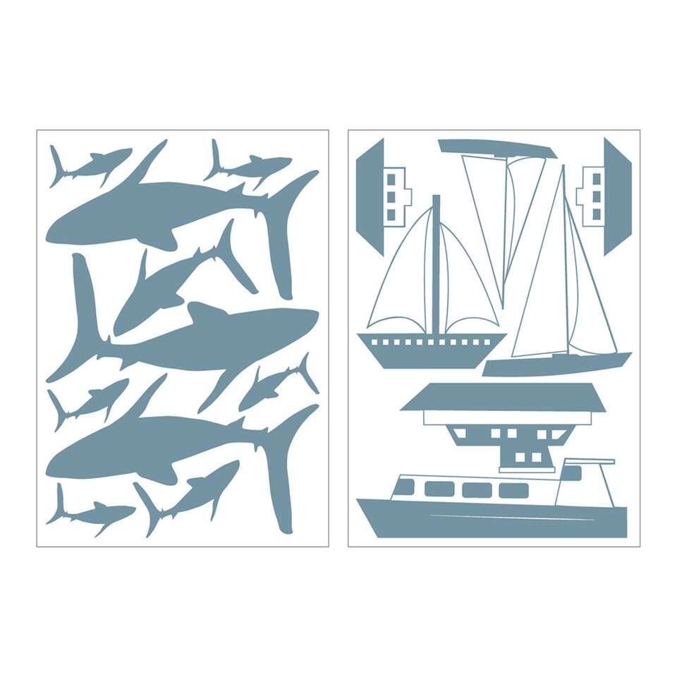 Art For The Home muurstickers Nautisch - blauw - 17,5x25 cm - Leen Bakker