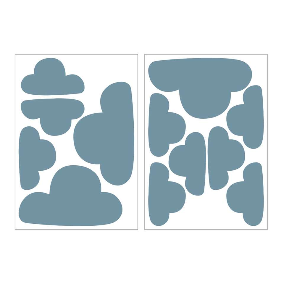 Art For The Home muurstickers Wolken - blauw - 17,5x25 cm - Leen Bakker