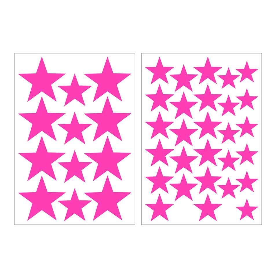 Art For The Home muurstickers Sterren - roze - 17,5x25 cm - Leen Bakker