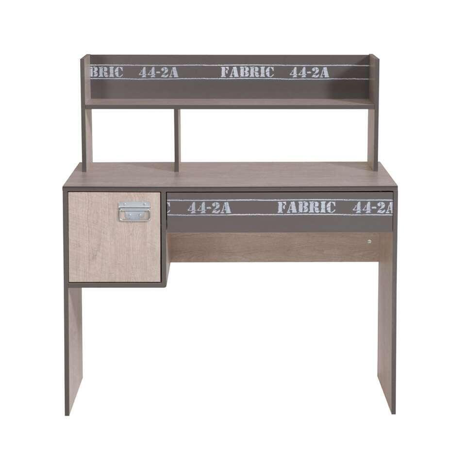 Bureau Fabric - eikenkleur/grijs - 114,1x107,9x56,4 cm - Leen Bakker