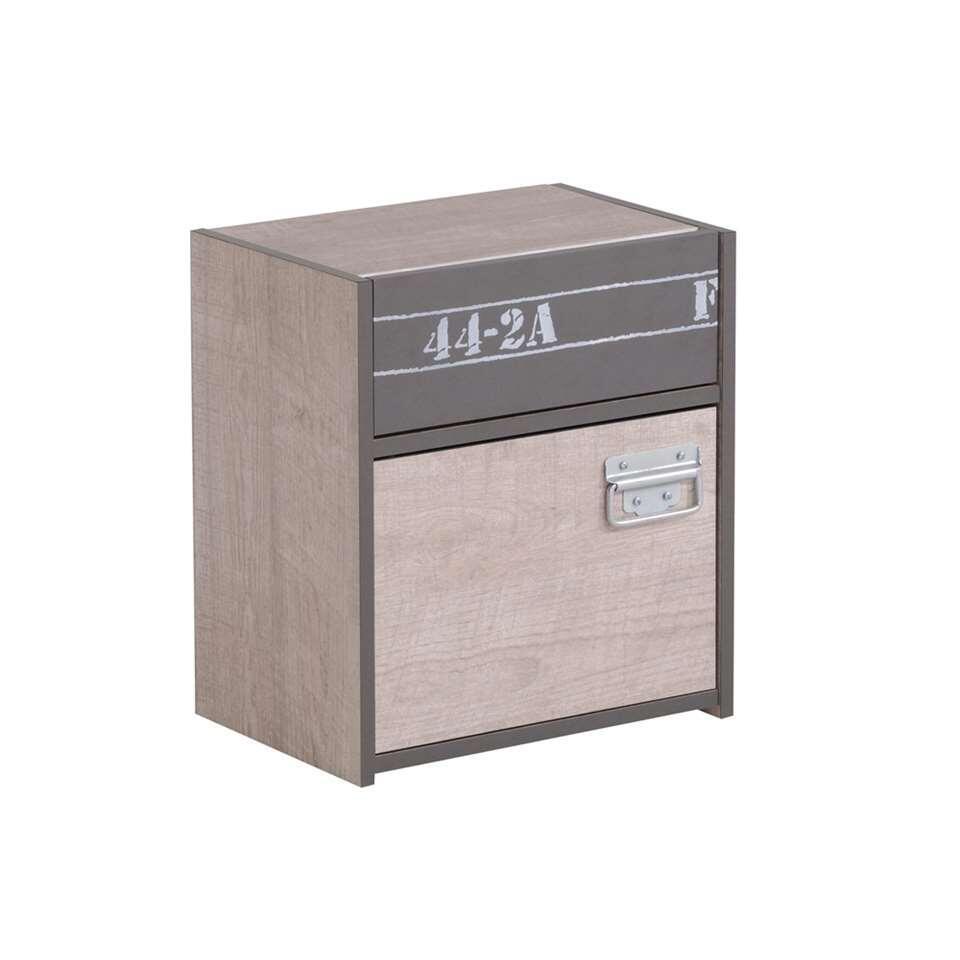 Nachtkastje Fabric - eikenkleur/grijs - 45,3x40,2x28 cm