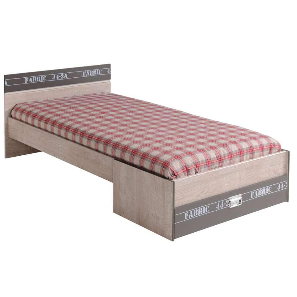 Bed Fabric - eikenkleur/grijs - 65,8x98,6x207,2 cm - Leen Bakker