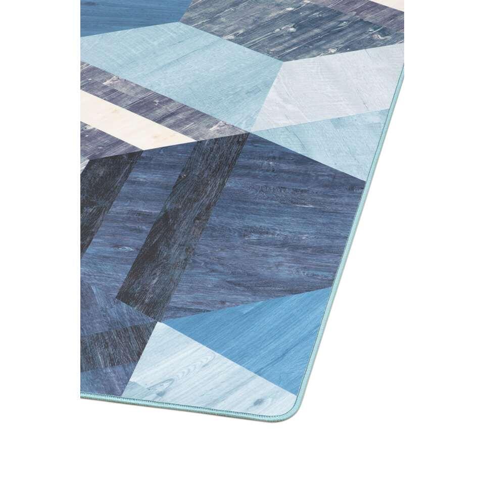 Tarkett vloerkleed Finally Vinyl™ Zeshoek - blauw - 166x196 cm - Leen Bakker