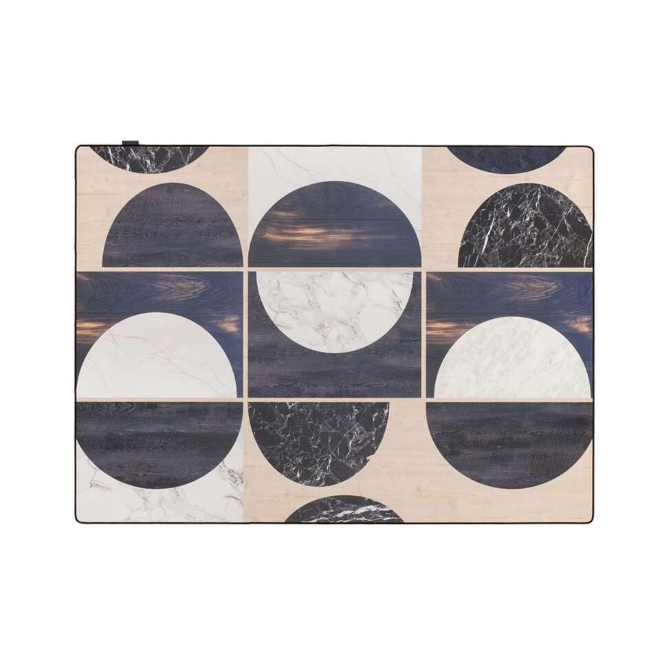 Tarkett vloerkleed Finally Vinyl™ Houten cirkel - zwart - 166x196 cm - Leen Bakker