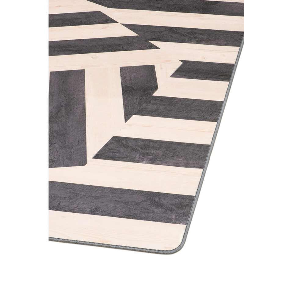 Tarkett vloerkleed Finally Vinyl™ Houten zeshoek - zwart - 166x196 cm - Leen Bakker
