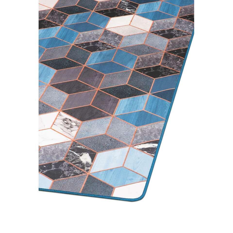 Tarkett vloerkleed Finally Vinyl™ Kubus - blauw - 166x196 cm - Leen Bakker