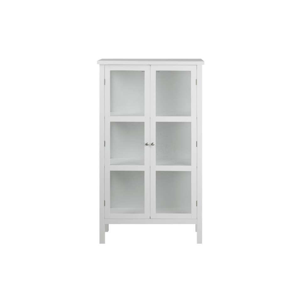 Vitrine Liza - wit - 136,5x80x35,5 cm - Leen Bakker