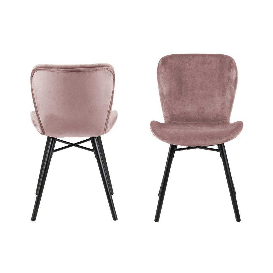 Eetkamerstoel Helgum – fluweel – roze (2 stuks) – Leen Bakker