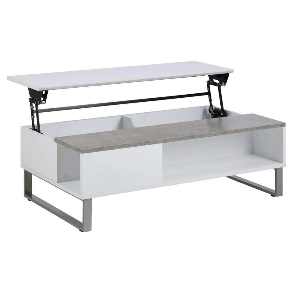 Salontafel Nordborg – wit/betonkleur – 35x110x60 cm – Leen Bakker