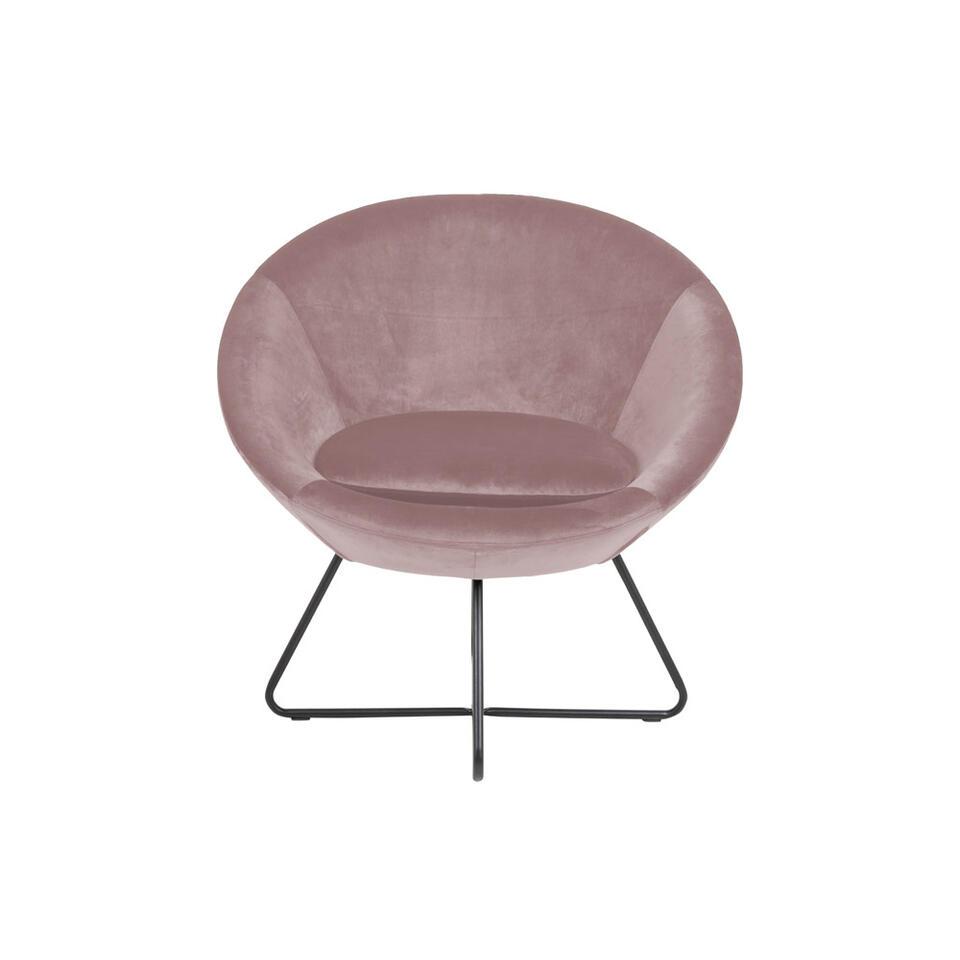 Fauteuil Forli – fluweel – roze – Leen Bakker