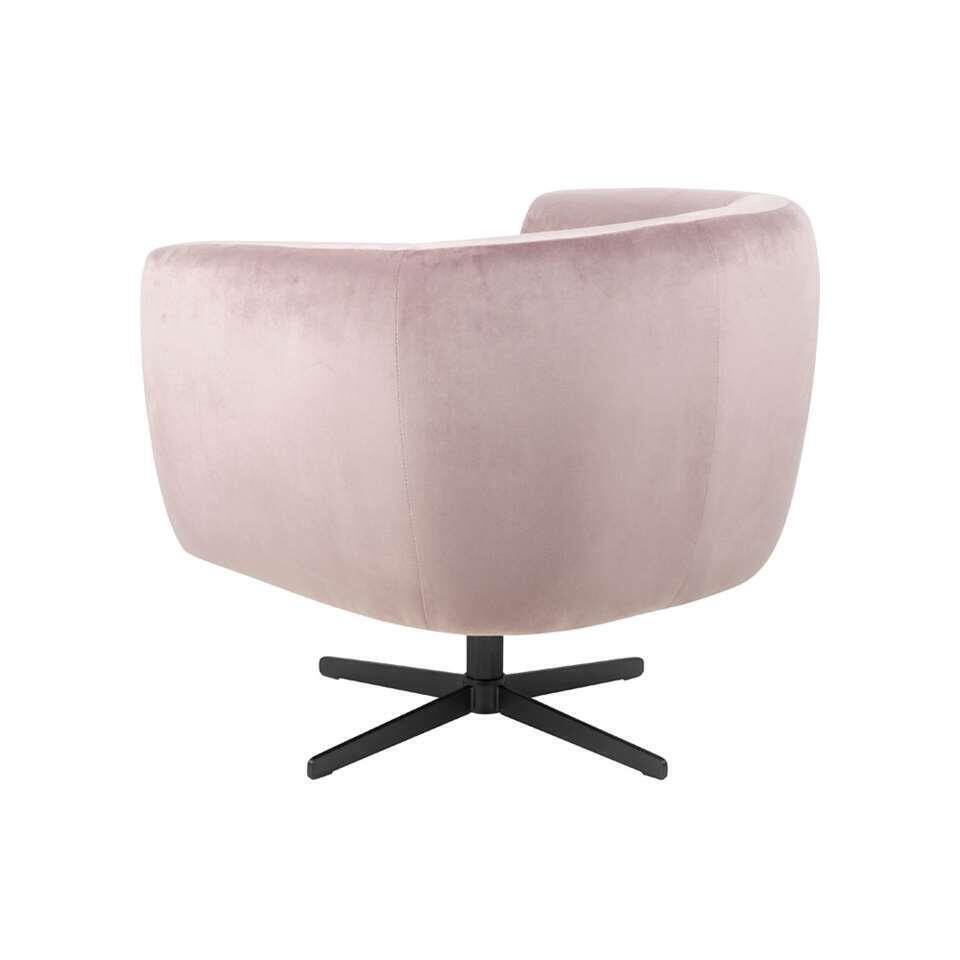 Fauteuil Nantes – fluweel – roze – Leen Bakker