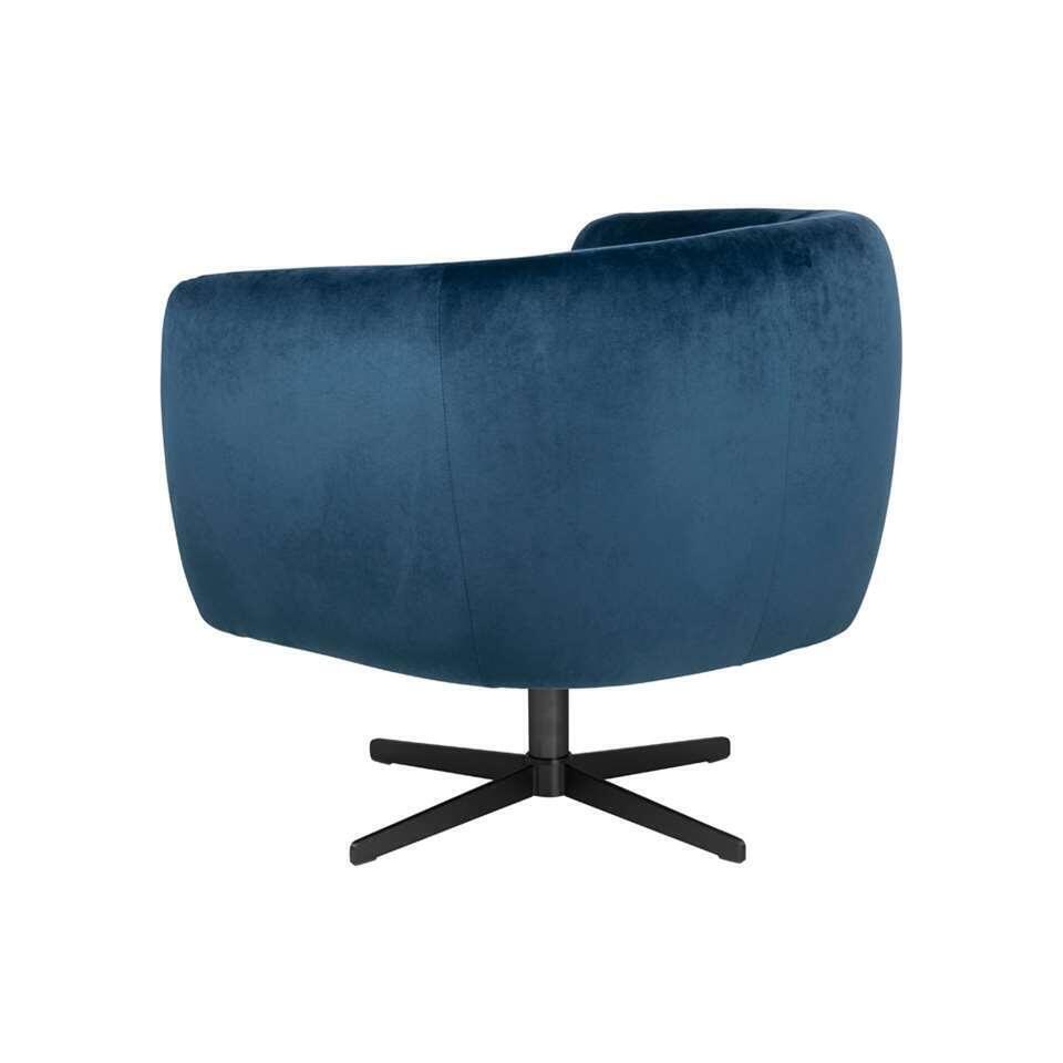 Fauteuil Nantes – fluweel – blauw – Leen Bakker