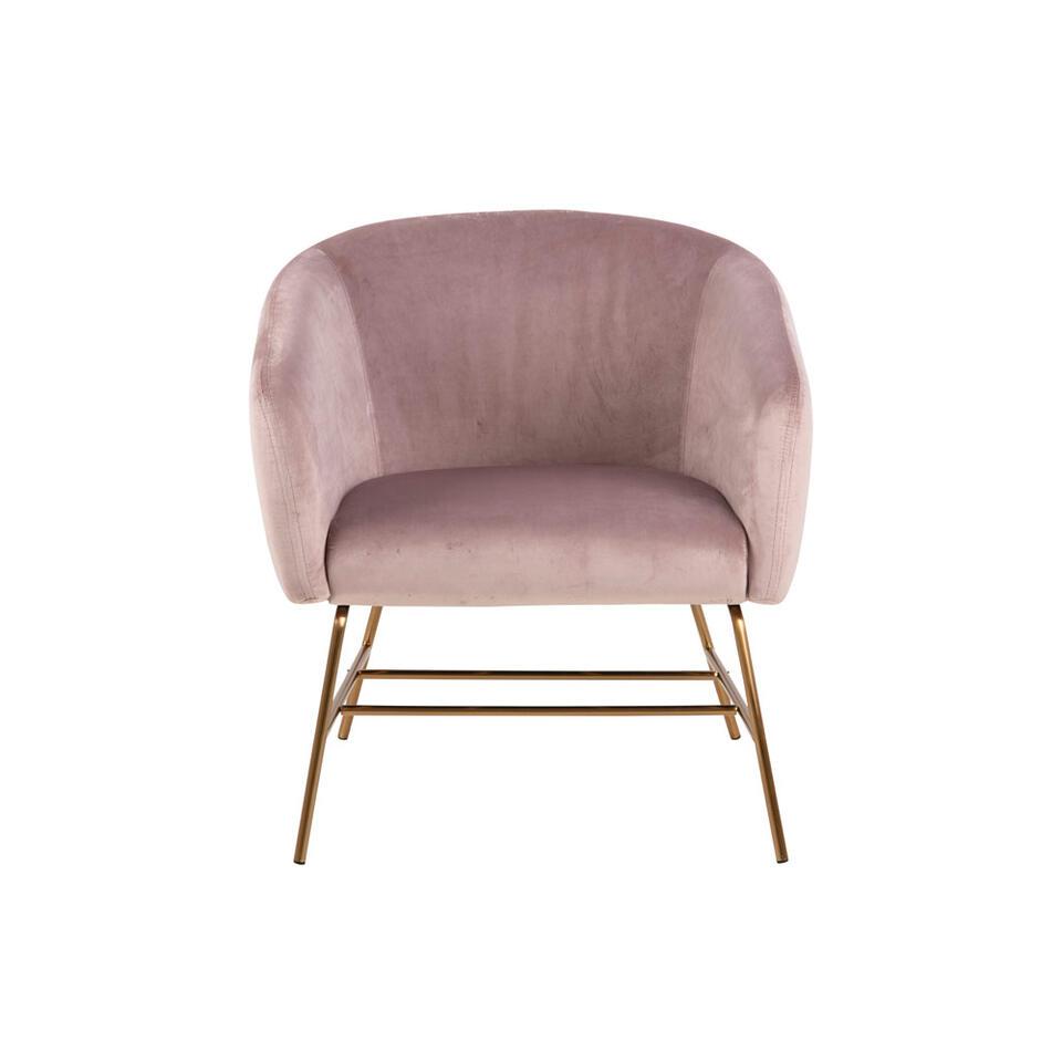 Fauteuil Belfast – fluweel – roze – Leen Bakker