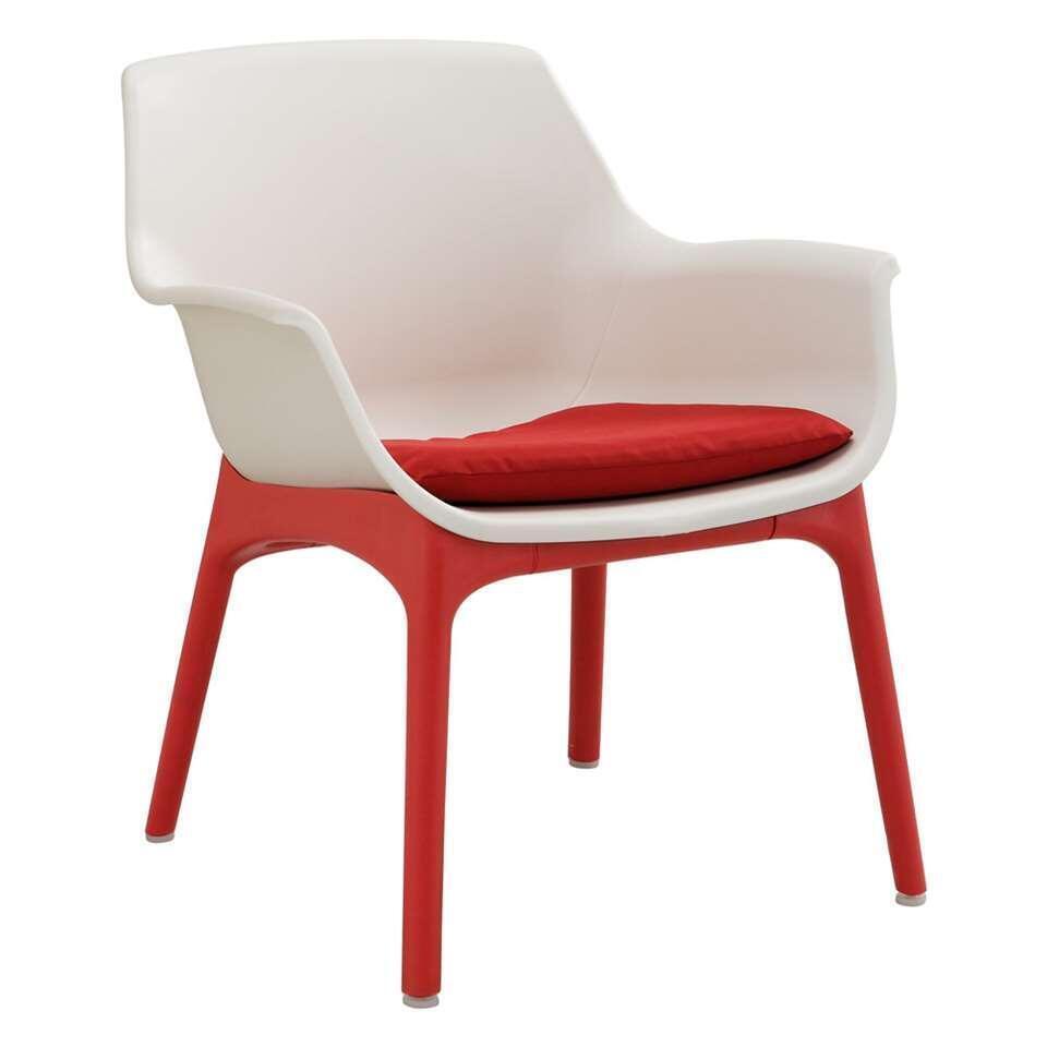 Loungeset Leon - wit/rood - 4-delig - Leen Bakker