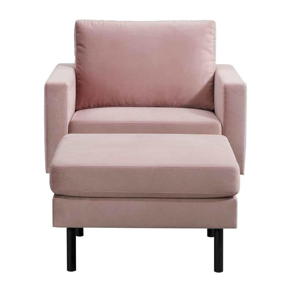 Fauteuil Collin - velvet - roze