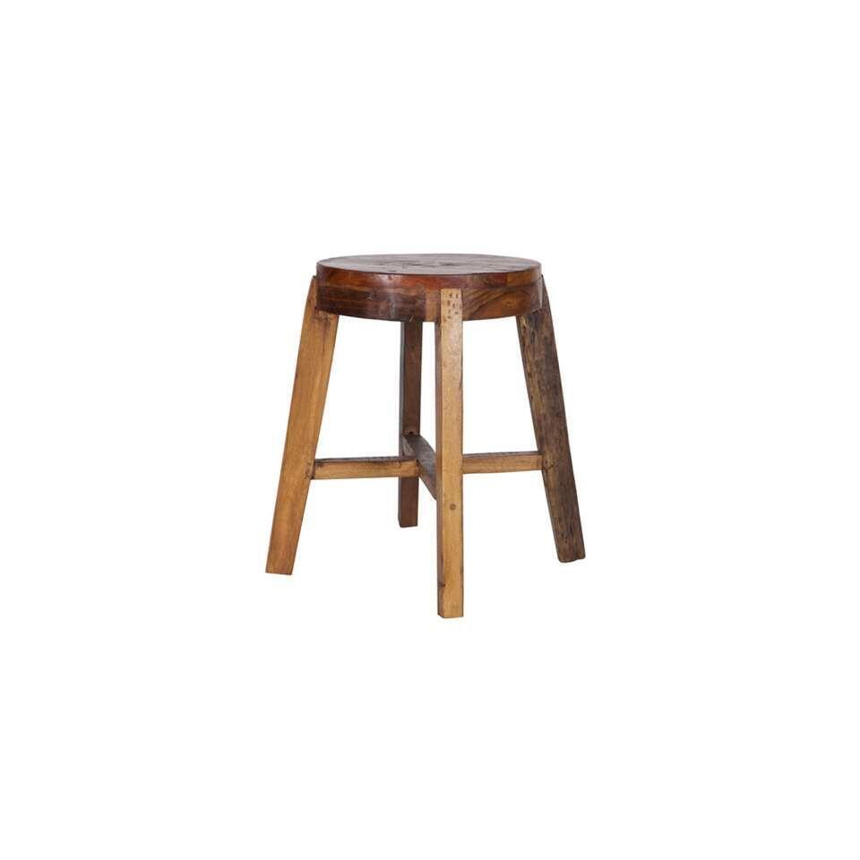 Woood kruk Inca - bruin/multikleur - 49x49x46 cm - Leen Bakker
