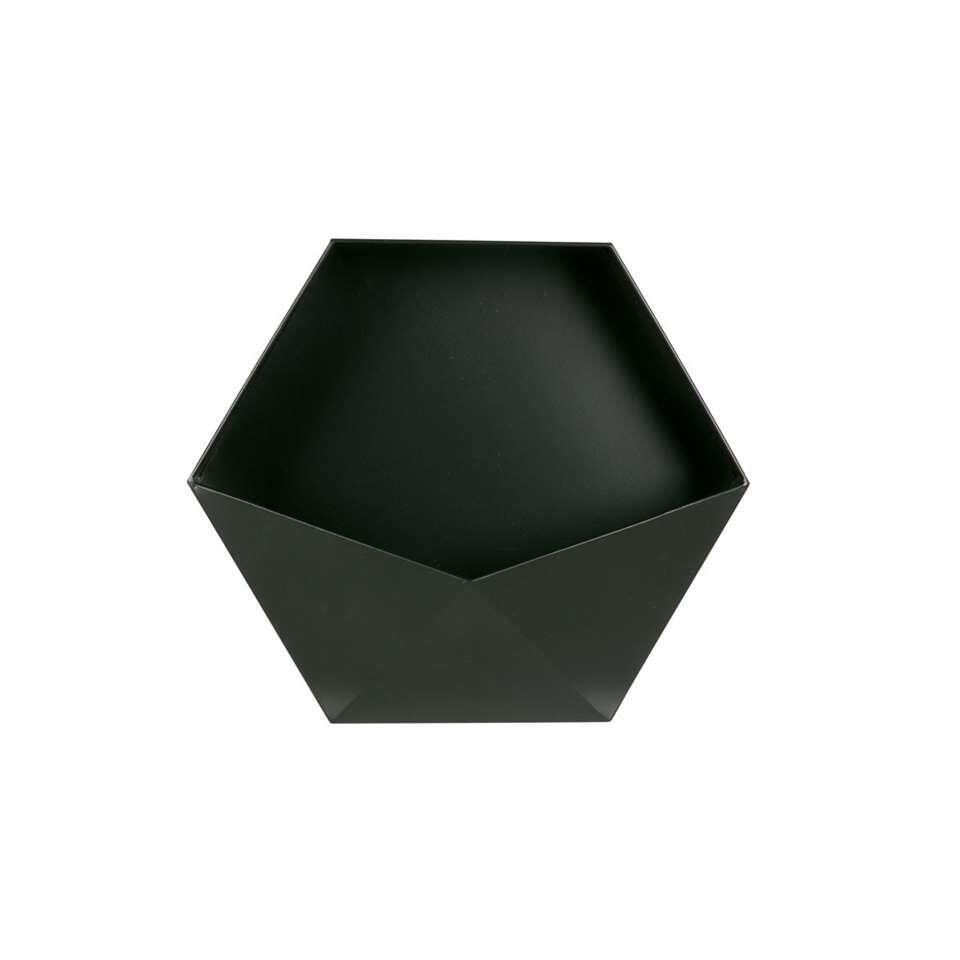 ¥Woood wanddeco Puck XL - zwart - 39x45x18,5 cm¥ - Leen Bakker