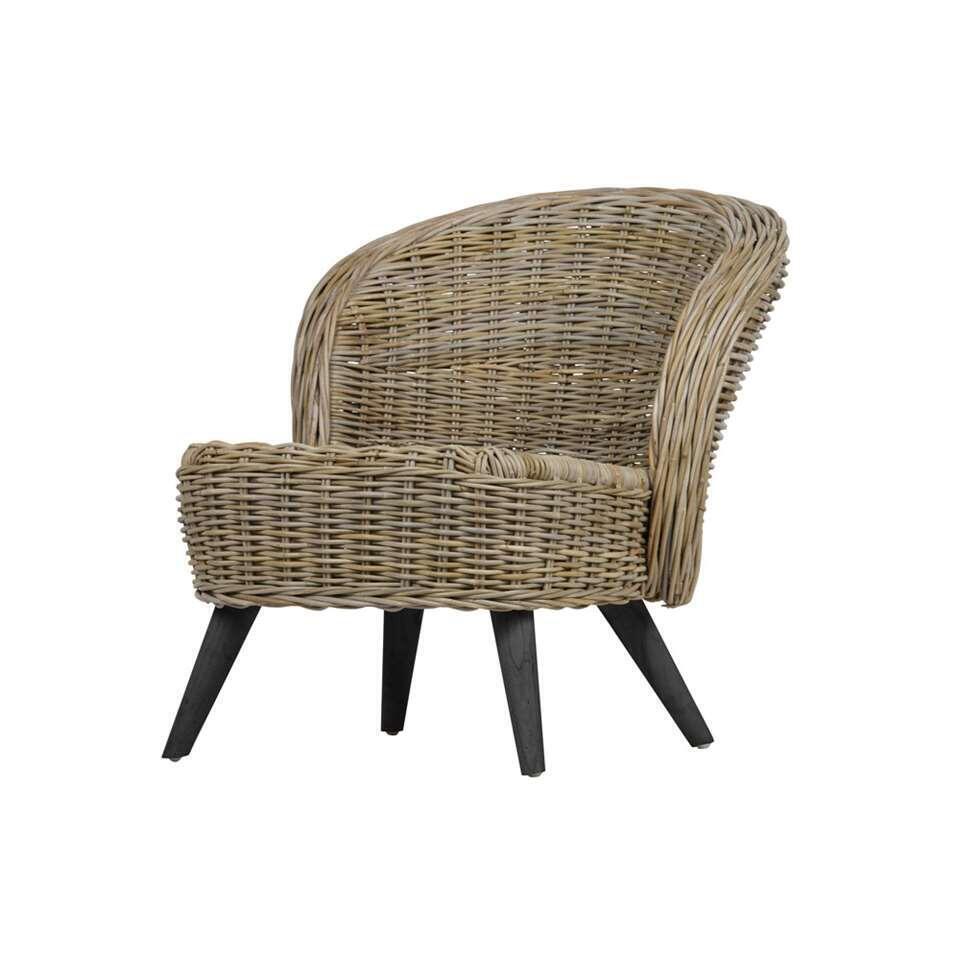 Woood fauteuil Sara - couleur naturelle/noir - 75x68x83 cm
