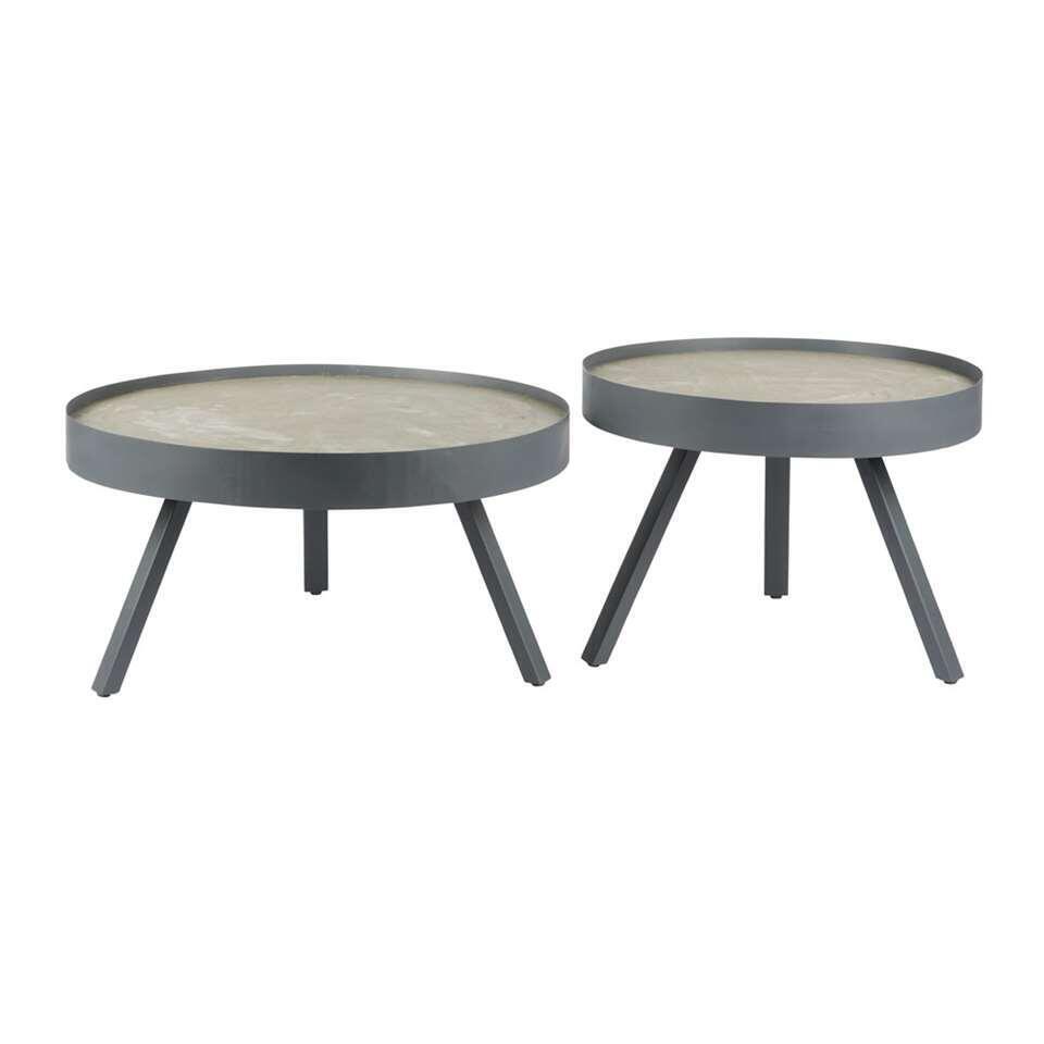 Woood salontafel Skip - betongrijs - 44xØ58 cm - Leen Bakker