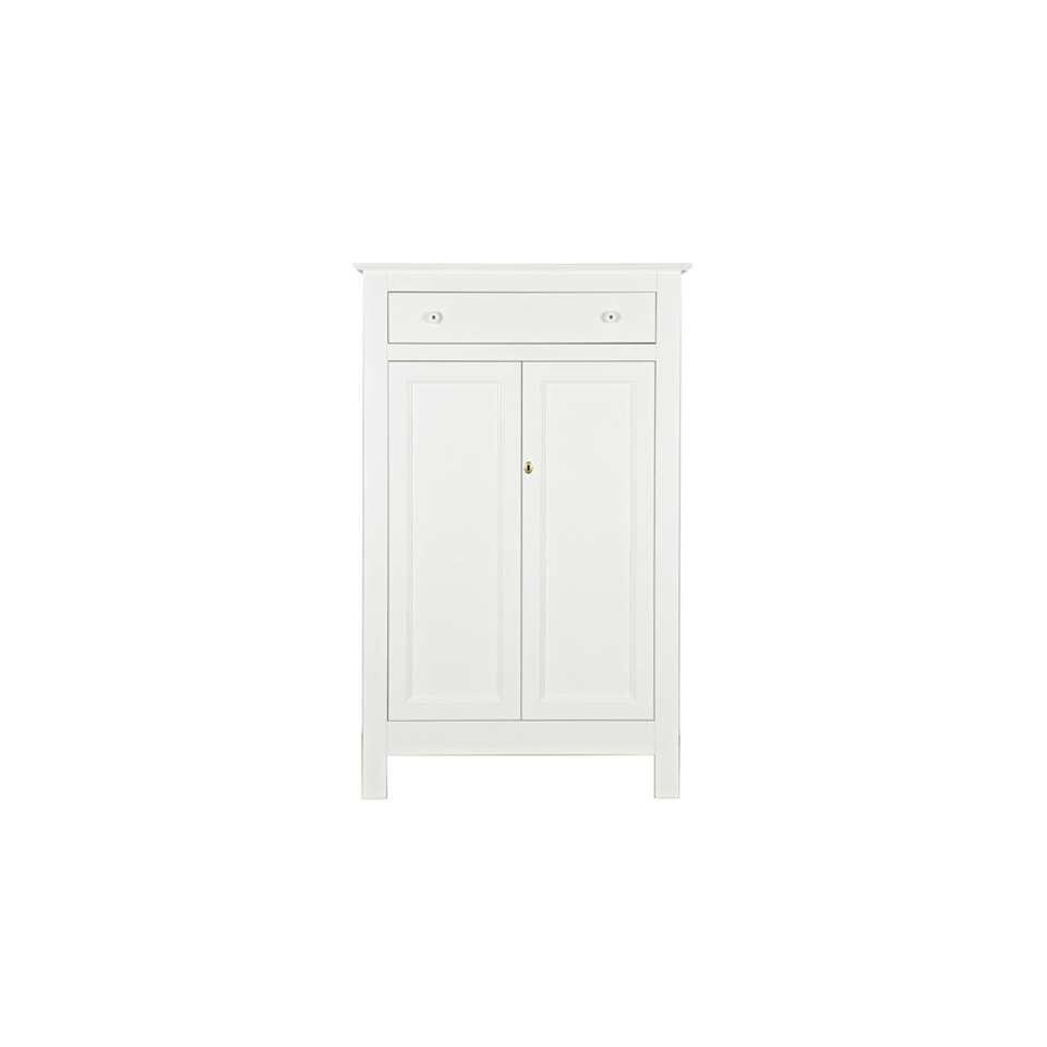 Woood bonnetière Eva - blanche - 150x93x40 cm