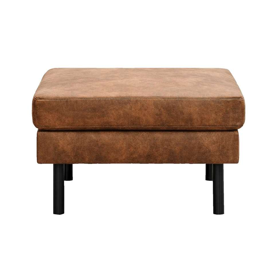 Hocker Collin - cognac - stof Preston - 46x78x78 cm
