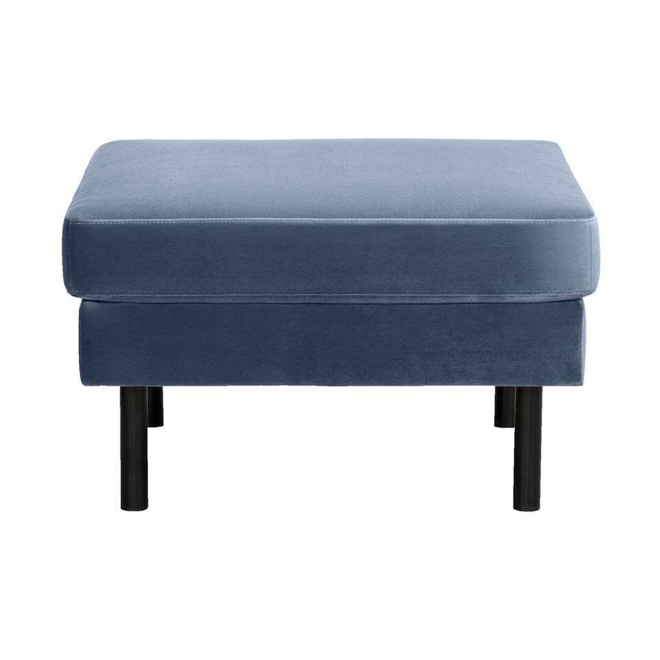 Hocker Collin is bekleed met velvet stof in de kleur blauw. De hocker heeft een afmeting van 46x78x78 cm.
