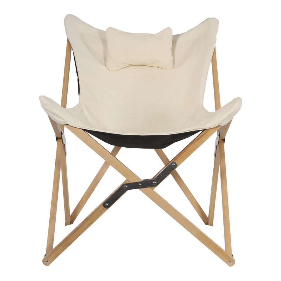Vlinderstoel - naturel - 98x70x81,5 cm - Leen Bakker