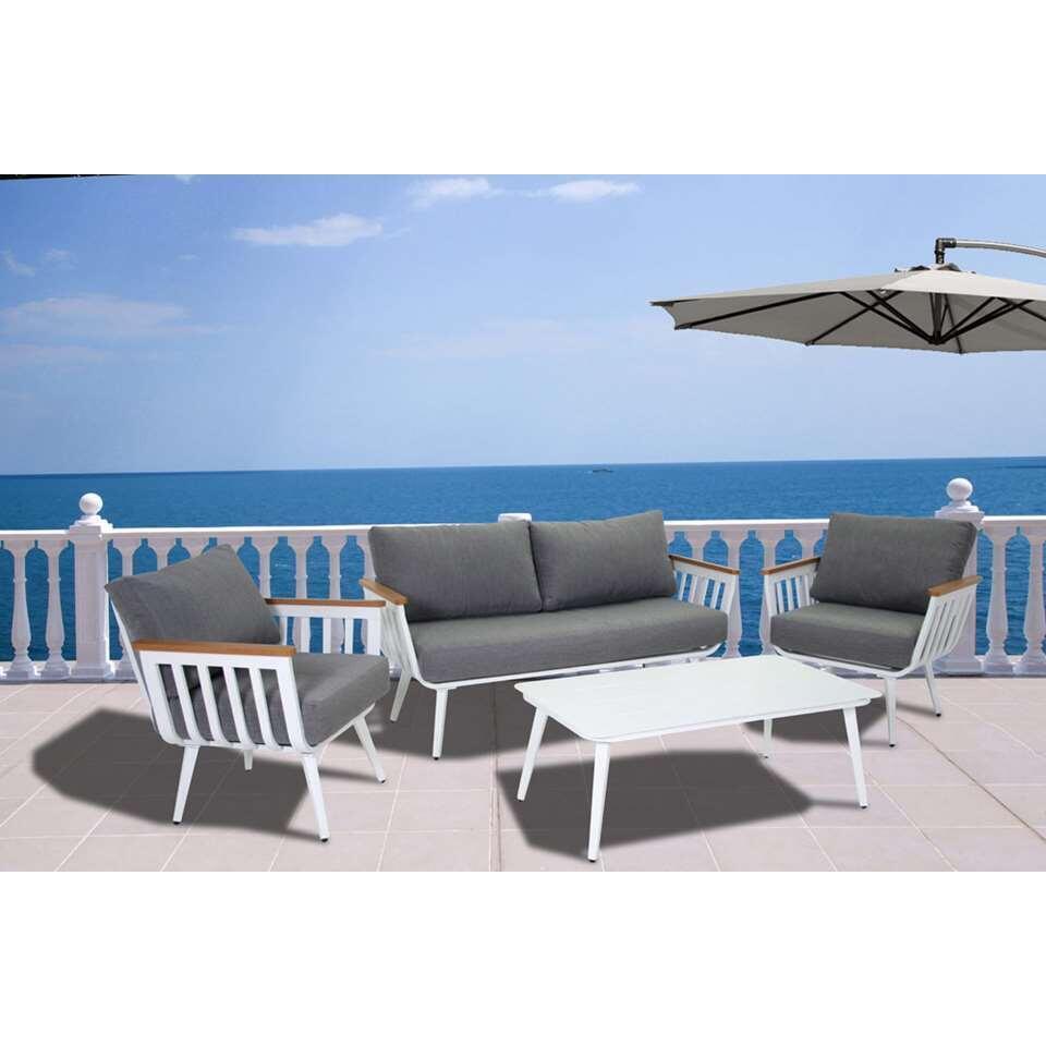 SenS-Line loungeset Pandora - wit/grijs - 4-delig - Leen Bakker