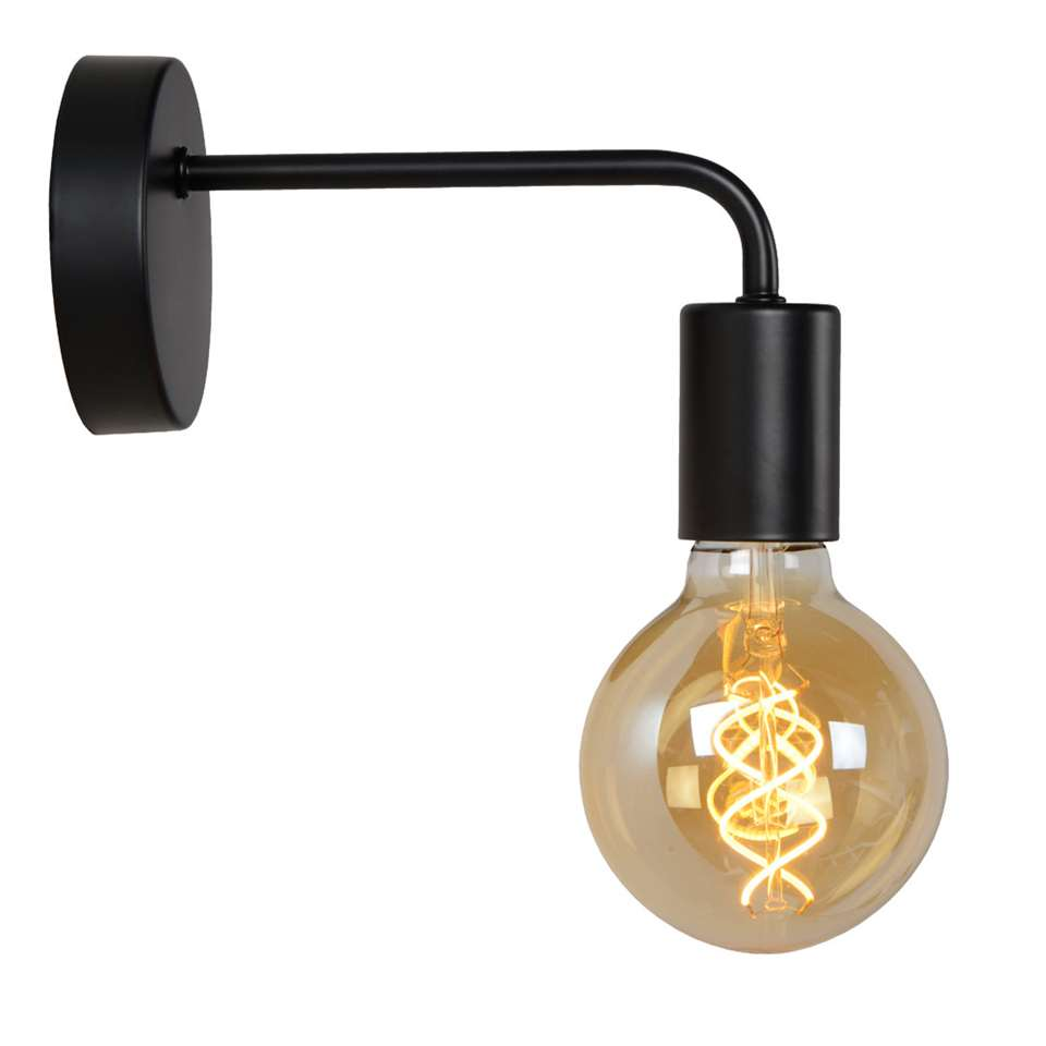 Lucide wandlamp Scott is een zwarte wandlamp met een E27 fitting en een afmeting van 20x5x12 cm.
