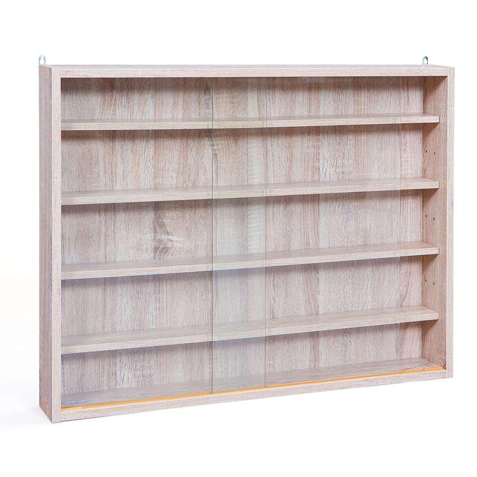 Vitrine Compilati - eikenkleur - 60x80x9,5 cm - Leen Bakker