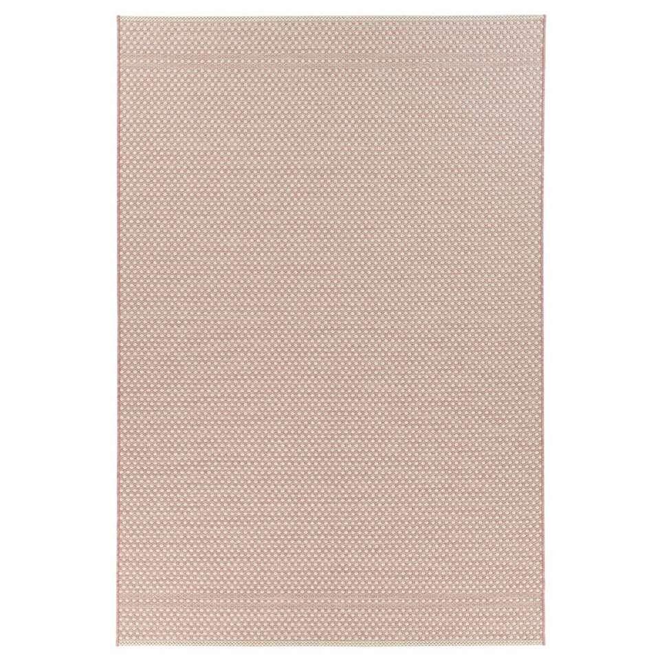 Floorita binnen/buitenvloerkleed Pallino - roze - 155x230 cm - Leen Bakker