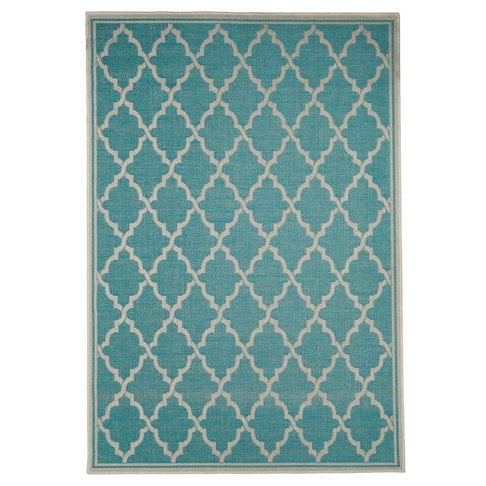 Floorita binnen/buitenvloerkleed Intreccio - turquoise - 200x290 cm - Leen Bakker