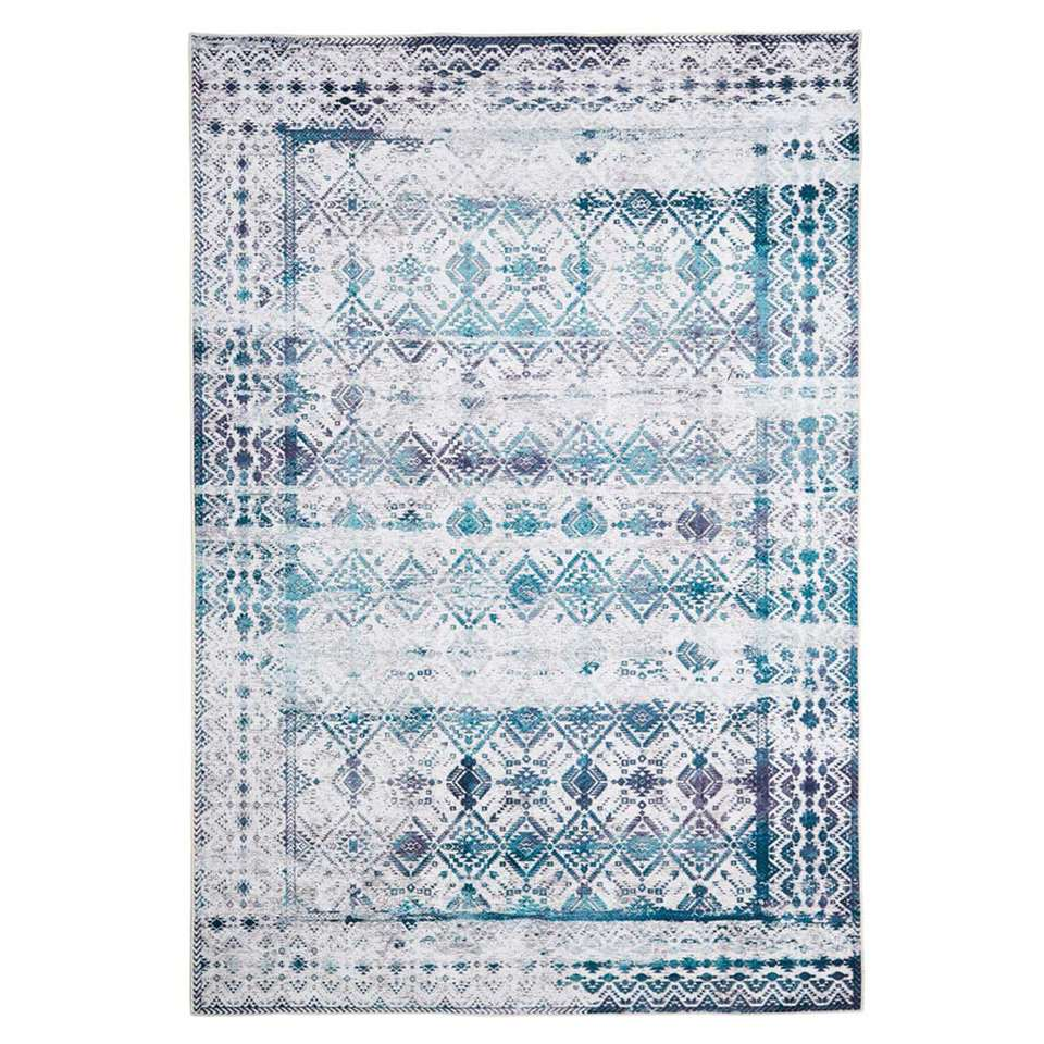 Floorita Easy-care vloerkleed Kilim - ivoor/aqua - 120x180 cm - Leen Bakker