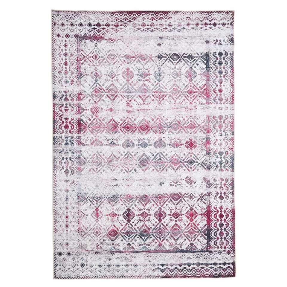 Floorita Easy-care vloerkleed Kilim - ivoor/kers - 120x180 cm - Leen Bakker