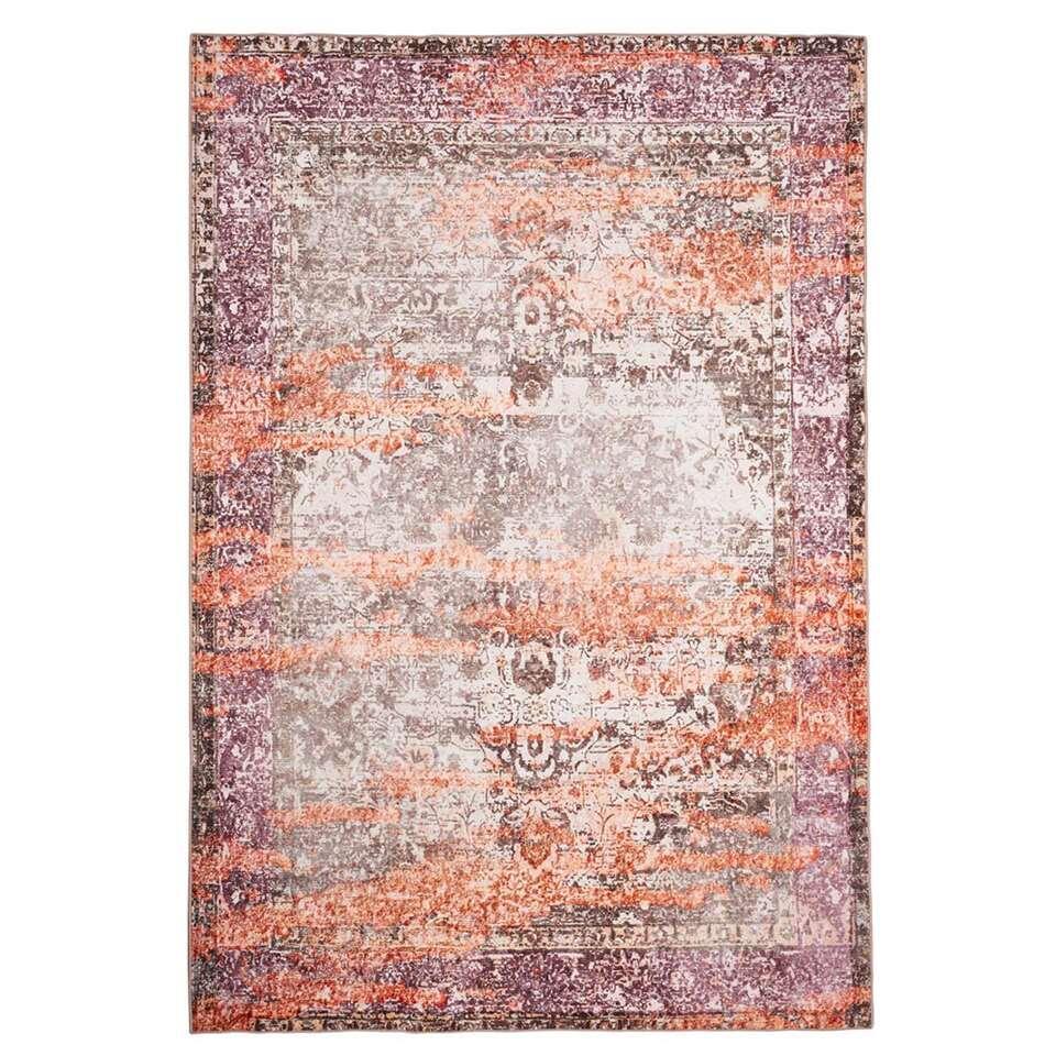 Floorita Easy-care vloerkleed Vintage – beige/oranje – 120×180 cm – Leen Bakker