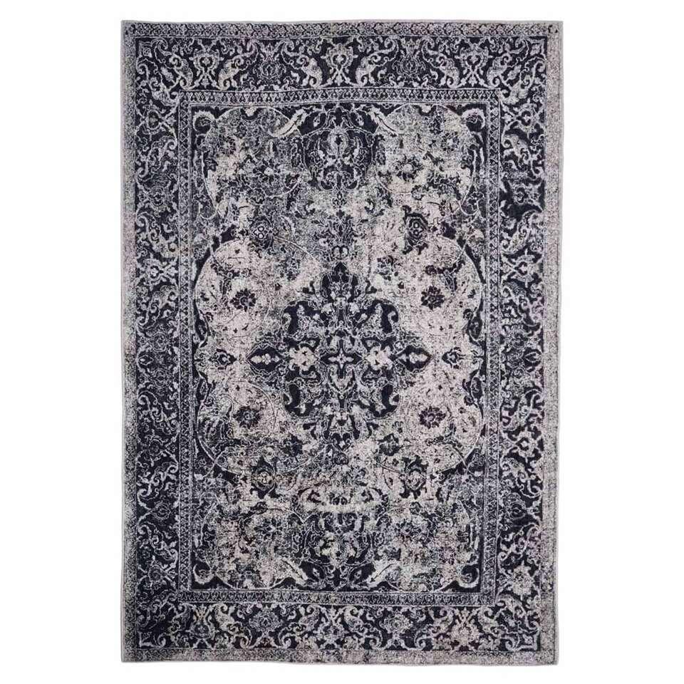 Floorita Easy-care vloerkleed Edessa – grijs/zwart – 160×230 cm – Leen Bakker