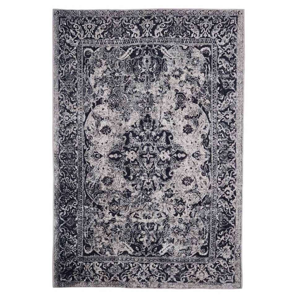 Floorita Easy-care vloerkleed Edessa – grijs/zwart – 200×290 cm – Leen Bakker